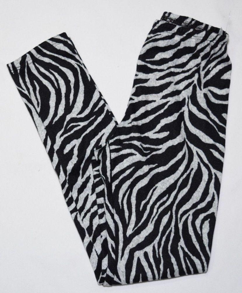 New Girls #Zebra Print #Leggings Black Grey Stretch #AnimalPrint Bottoms