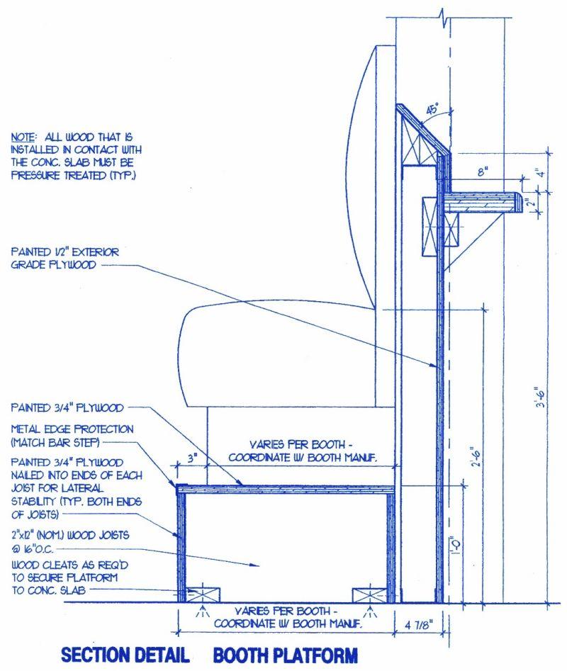 Bar Height Booth Platform Schematic Booth Seating Restaurant