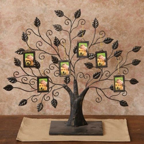 New Black Metal Standing Family Tree Picture Frame