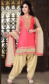 Pink Color Shaded Silk Salwar Kameez  #rajasthanisalwarkameez #onlinesalwarkameez Be the epitome of elegance wearing this pink color shaded silk salwar kameez. You are able to see some intriguing patterns completed with lace and resham work.   USD $ 152 (Around £ 105 & Euro 116)