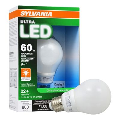 Sylvania Led 9 Watt 5000 Kelvins A19 Medium Base E 26 Dimmable Daylight Indoor Led Bulb Led Lights