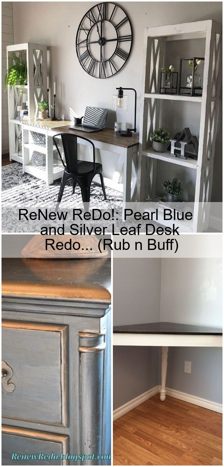 ReNew ReDo Pearl Blue and Silver Leaf Desk Redo Rub n Buff