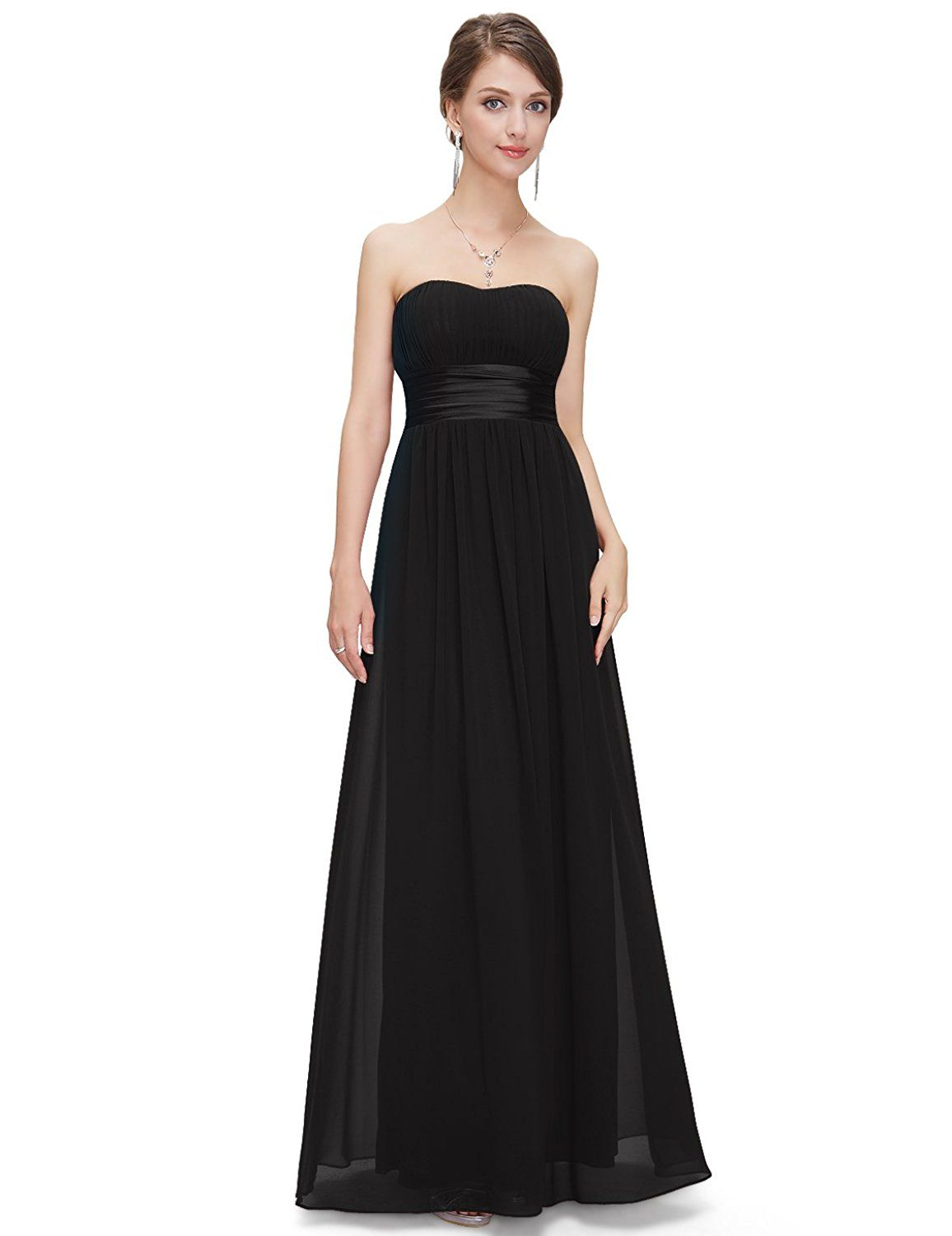 Ever Pretty Women's Strapless Ruched Bust Chiffon Long ...