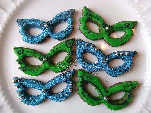 Green and Blue Mardi Gras Mask Cookies