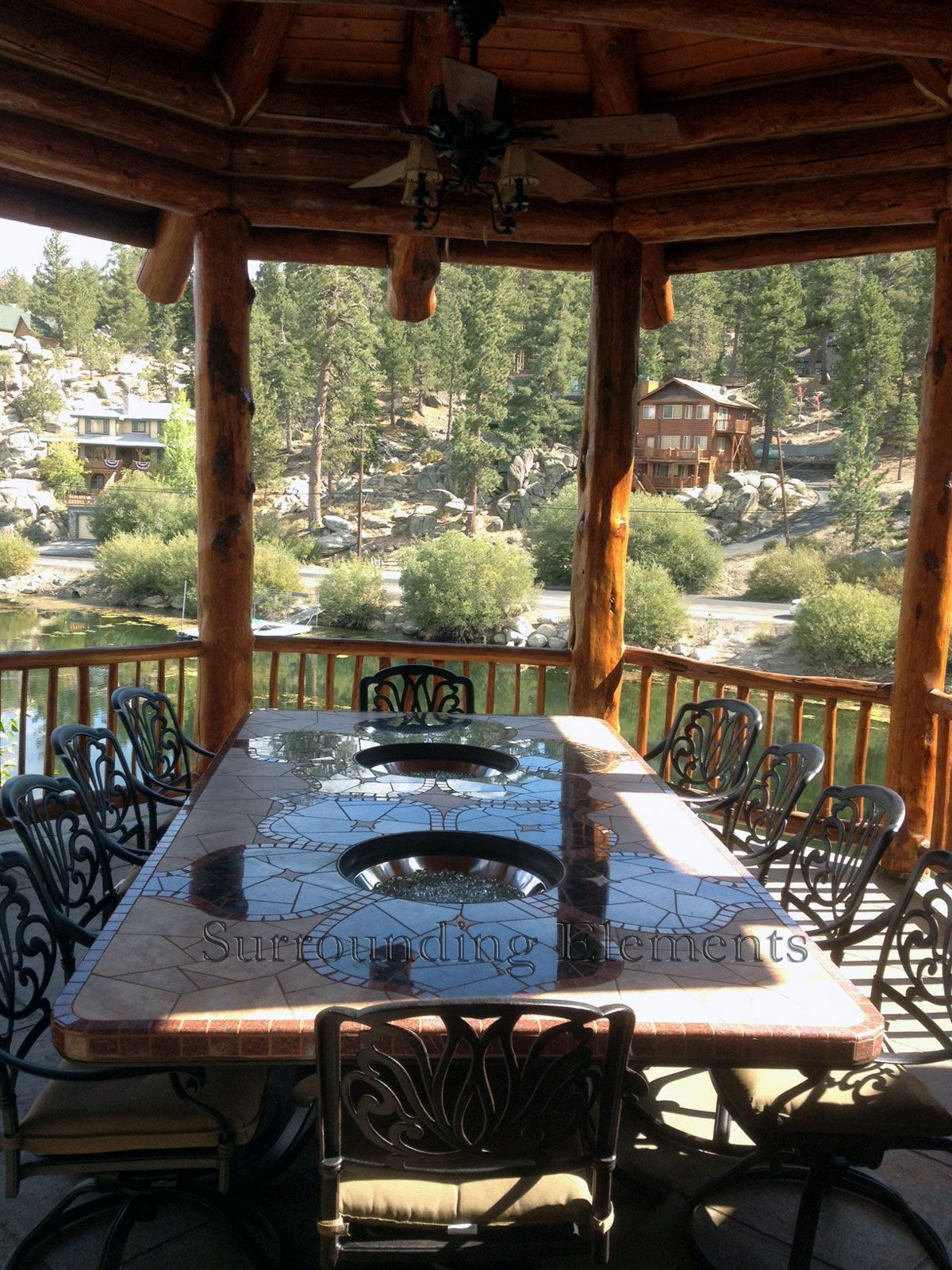 9u0027 Rectangle Mosaic Table On Iron Base With 2 Glass Burners Vineyard Design  Item#