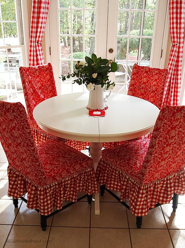 Ikea Liatorp White Dining Table Love The Red And Chair Covers Are Gorgeous This Is A Very Homey Atmosphere