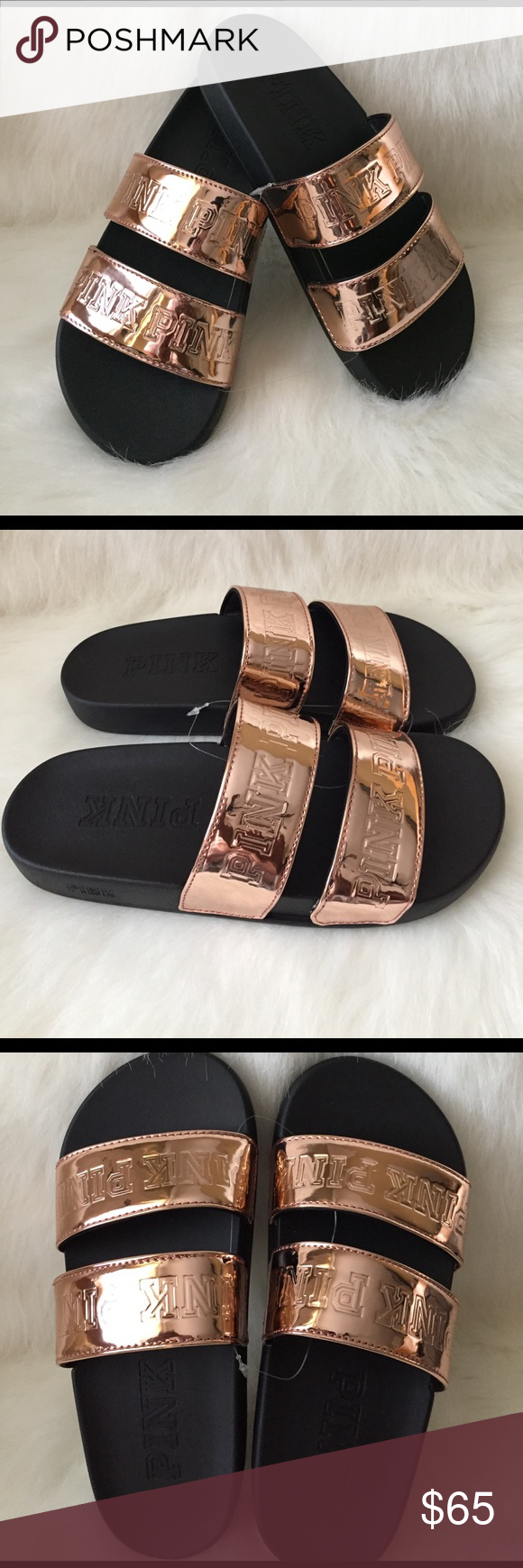 Sandals vs shoes - New Vs Pink Rose Gold Double Strap Sport Slide Rose Gold Everyday Slides With Double Strap