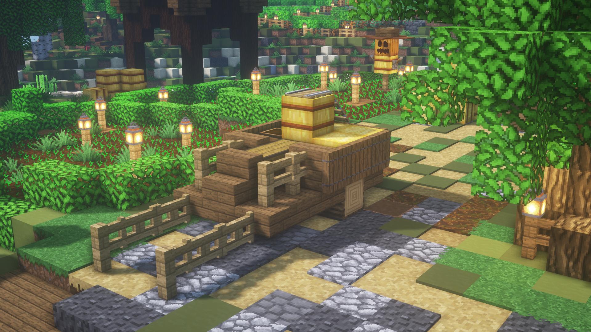 Charrette En Bois Dans Un Chemin De Terre Minecraft Decoration Exterieur Minecraft Exterieur