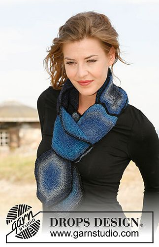 Gems Scarf with hexagons by DROPS design FREE PATTERN on Ravelry definitely a different look scarf pattern