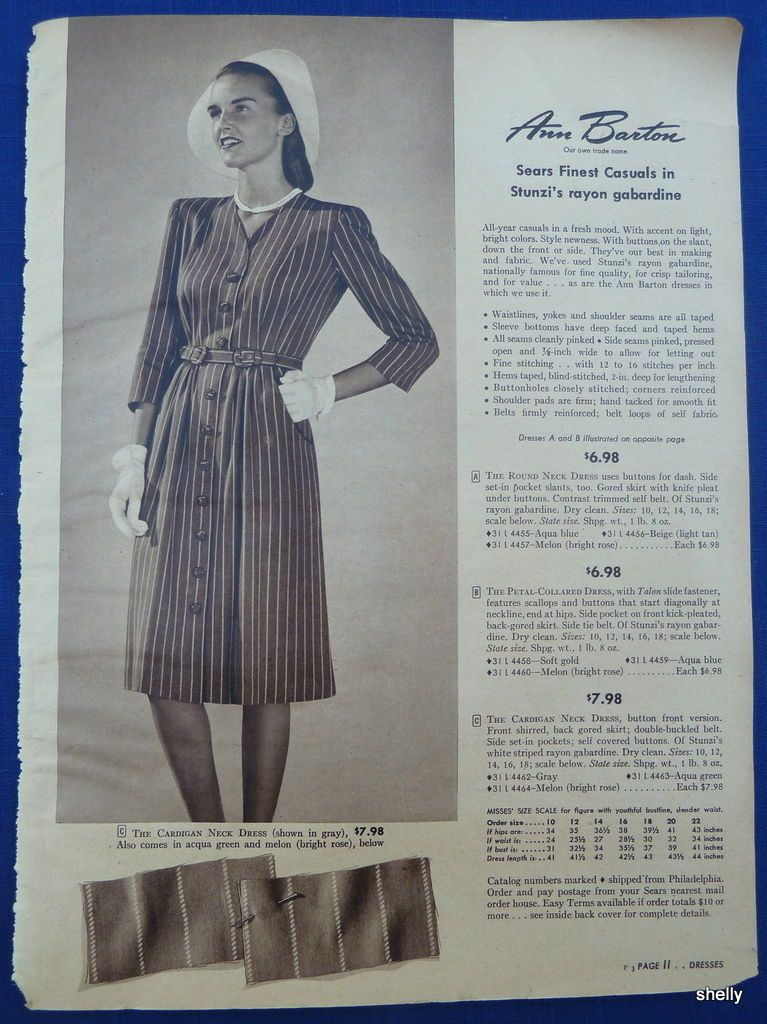 bc7d83166 Dresses Suits Spring Summer Womens Clothing Vintage 1940s Sears ADS ...