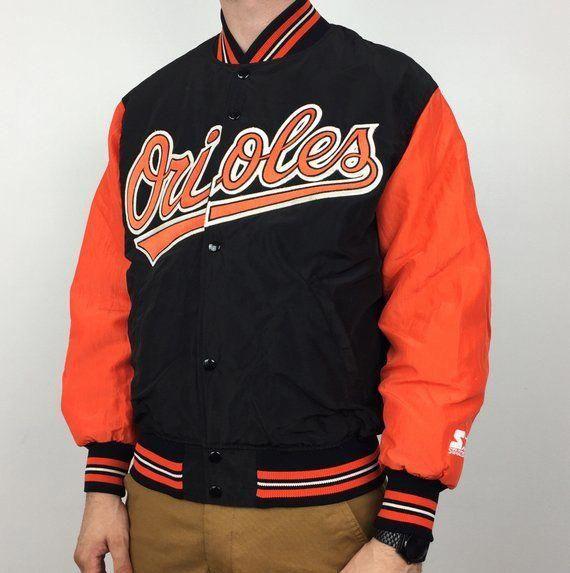a420fdbfb Vintage 90s Starter MLB Baltimore Orioles Diamond Collection nylon bomber  button up baseball jacket - Size M  baseballjackets