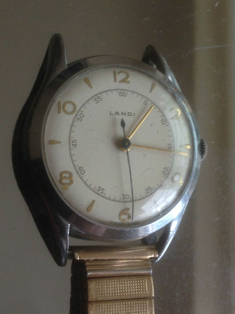 d6aaf5f79c2 Rare Landi Fond Acier Inoxydable Gents Watch Swiss Made 1568 143 R Gold  Strap
