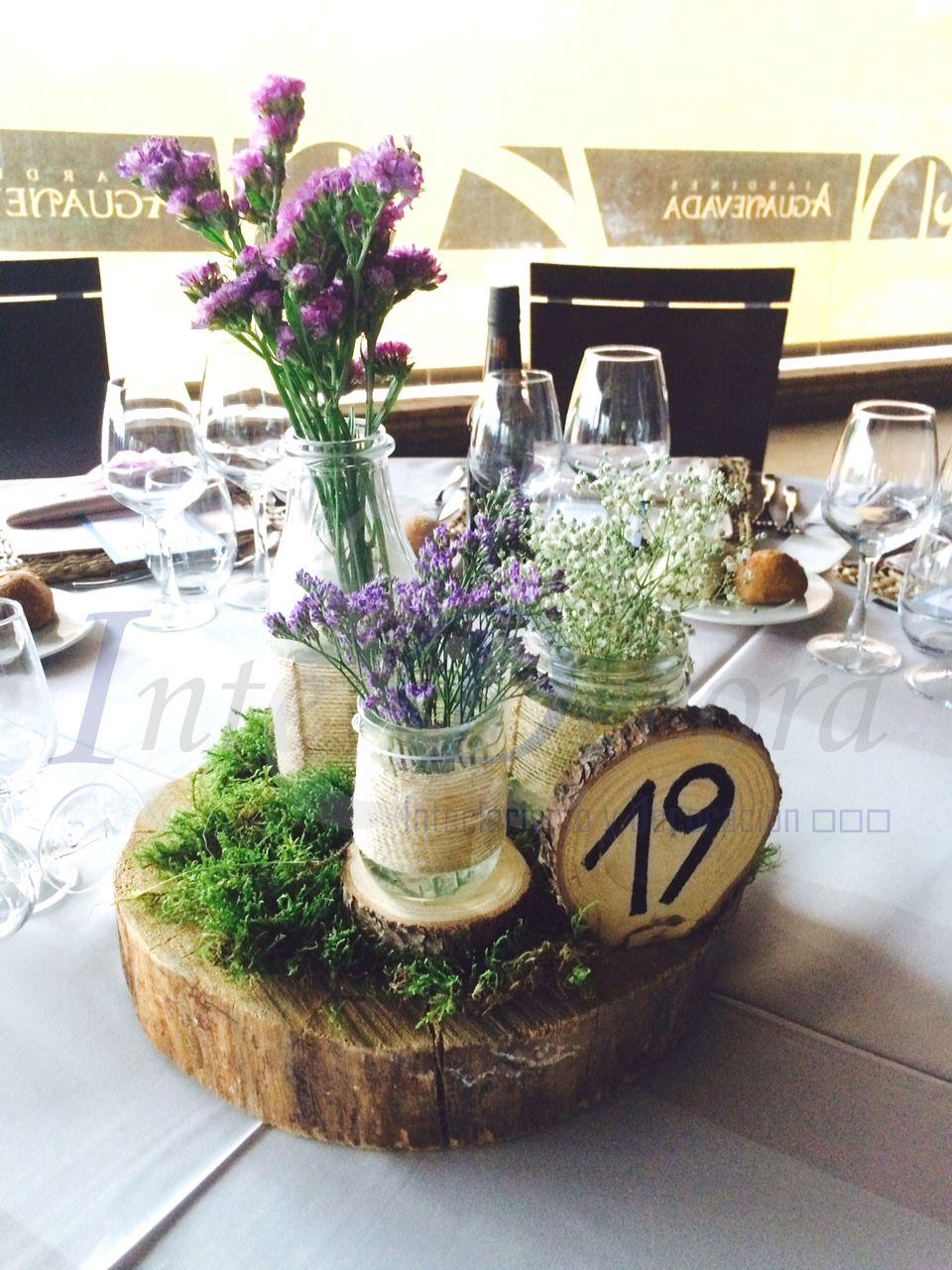 Centro de mesa r stico con musgo centros de mesa - Centro de mesa rustico ...