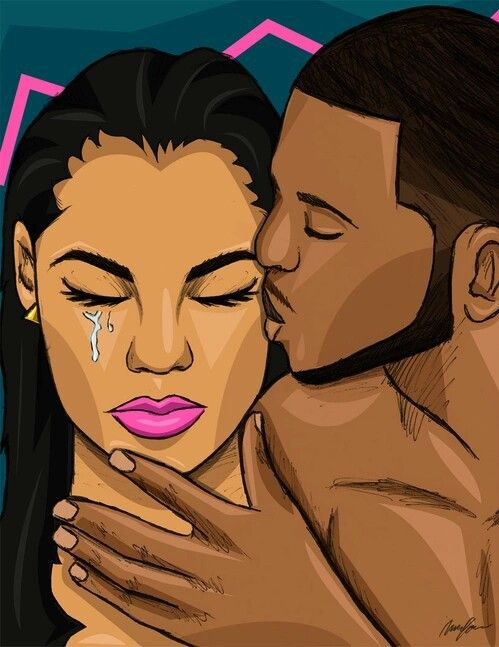 couple, kiss, and cry image   Black couple art, Black love art ...