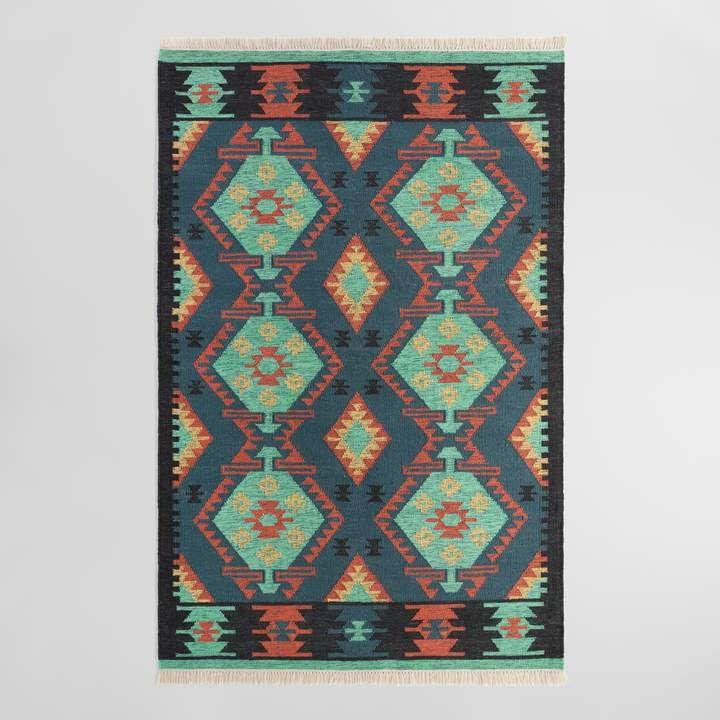 Cost Plus World Market Multicolor Diamond Kilim Woven Darra Indoor