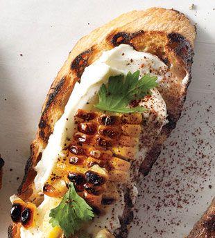 Grilled Corn, Crema Mexicana & Cilantro Crostini by bonappetit: Mexican street food style! #Crostini #Corn #bonappetit