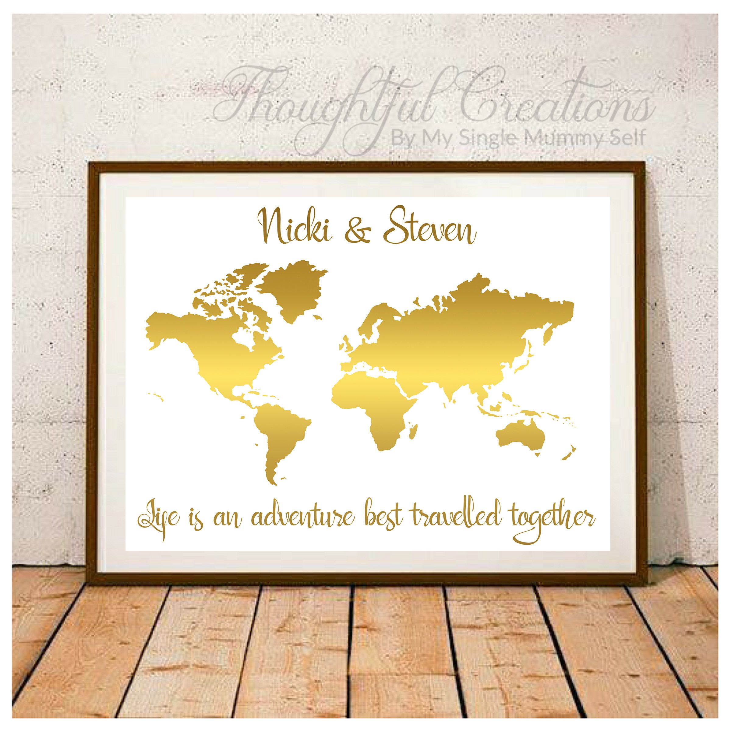World Map Print, Personalised World Map, Valentines Day Gift ...