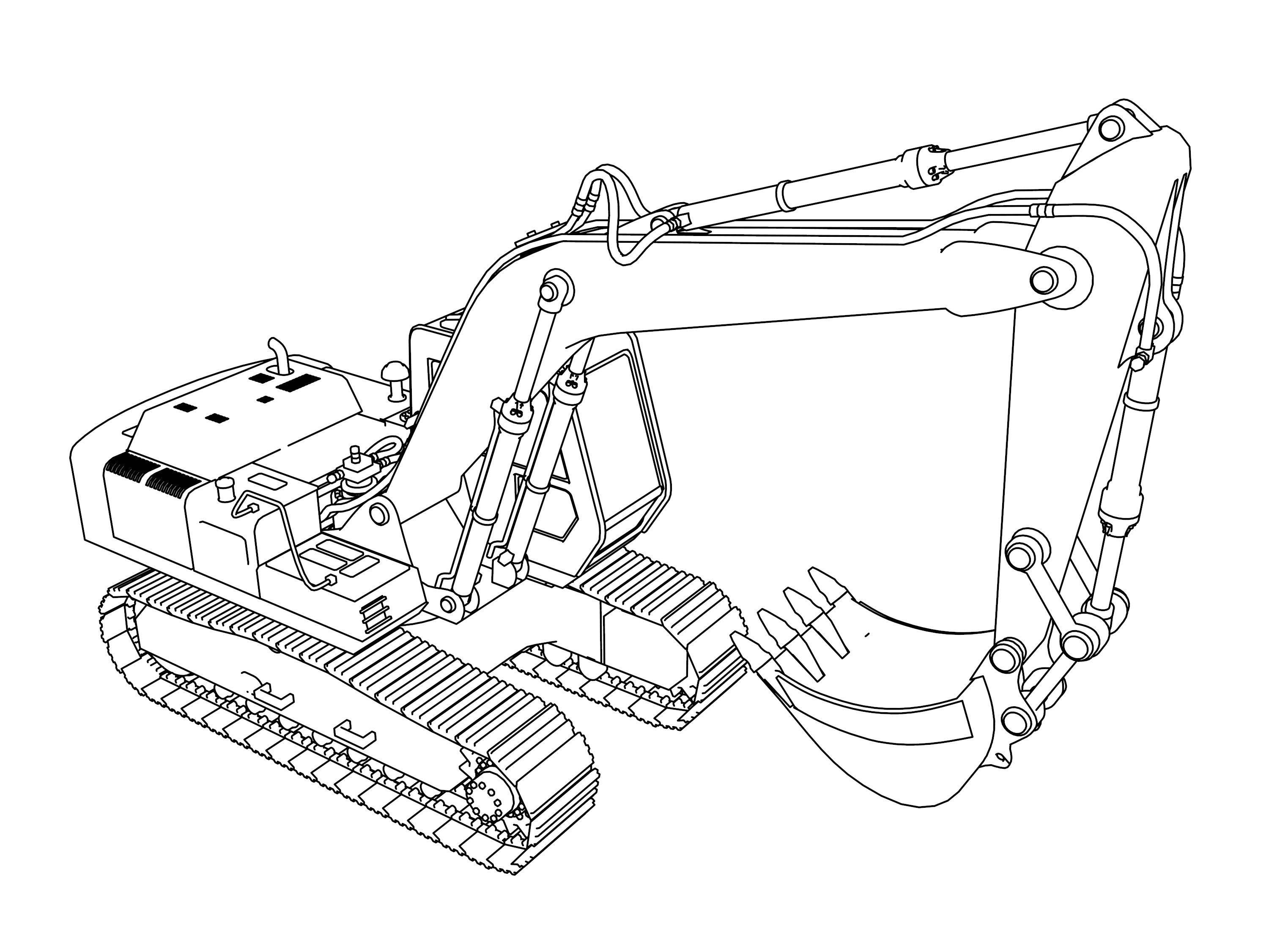 Excavator Coloring Pages Coloring pages, Cartoon