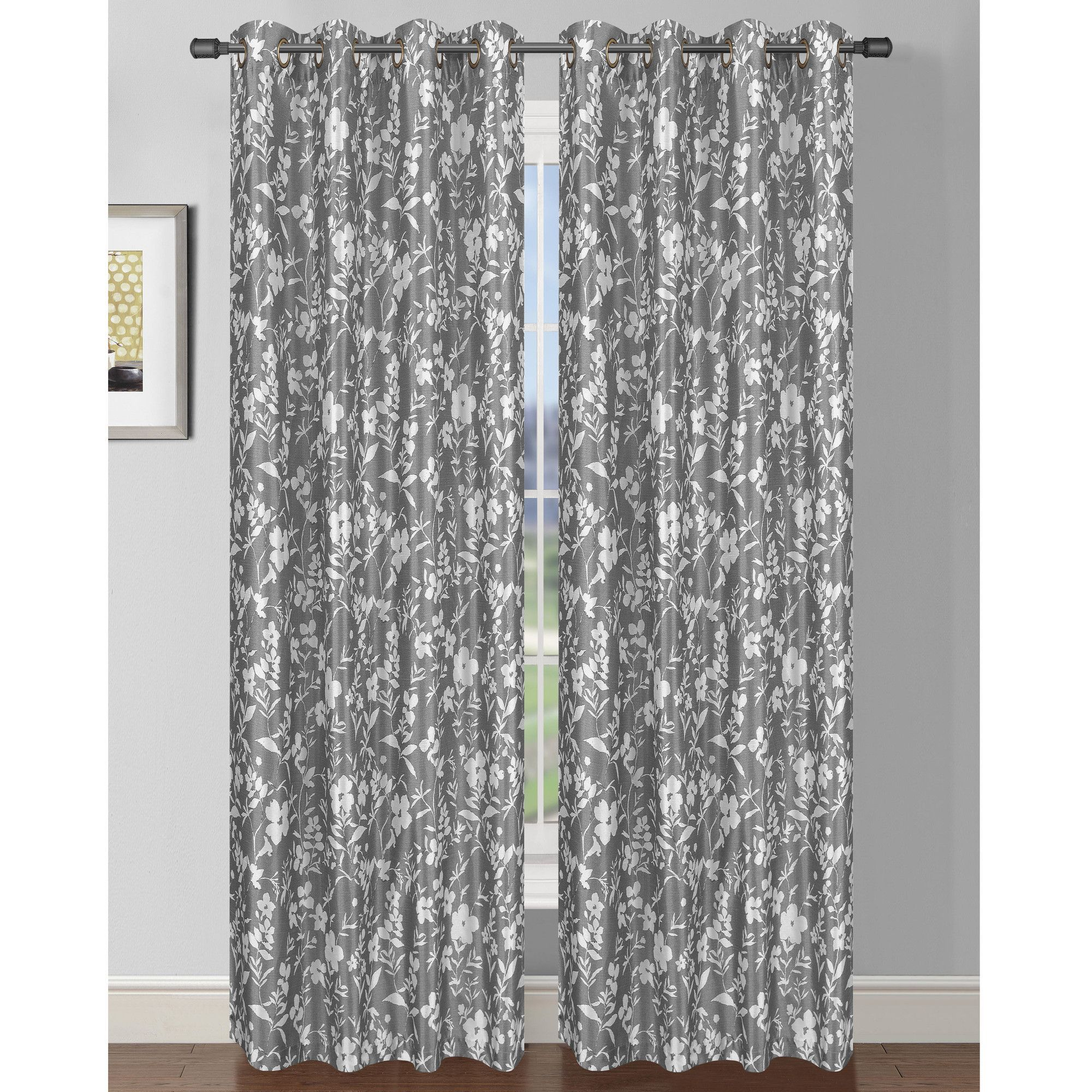 Window Elements Semi Opaque Florabotanica Printed 54 In L Grommet Extra Wide Curtain Panel Faux Silk The Home Depot