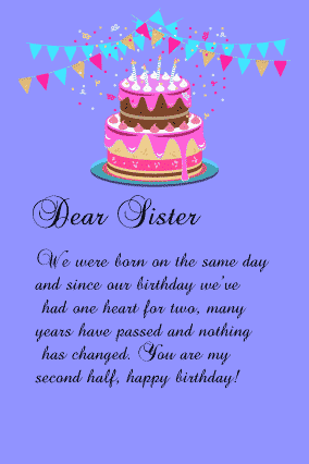 happy birthday letter for sister with cake and toran on light blue background fully