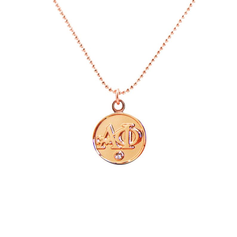 Alpha Phi Rose Gold Lavalier Necklace Alpha phi