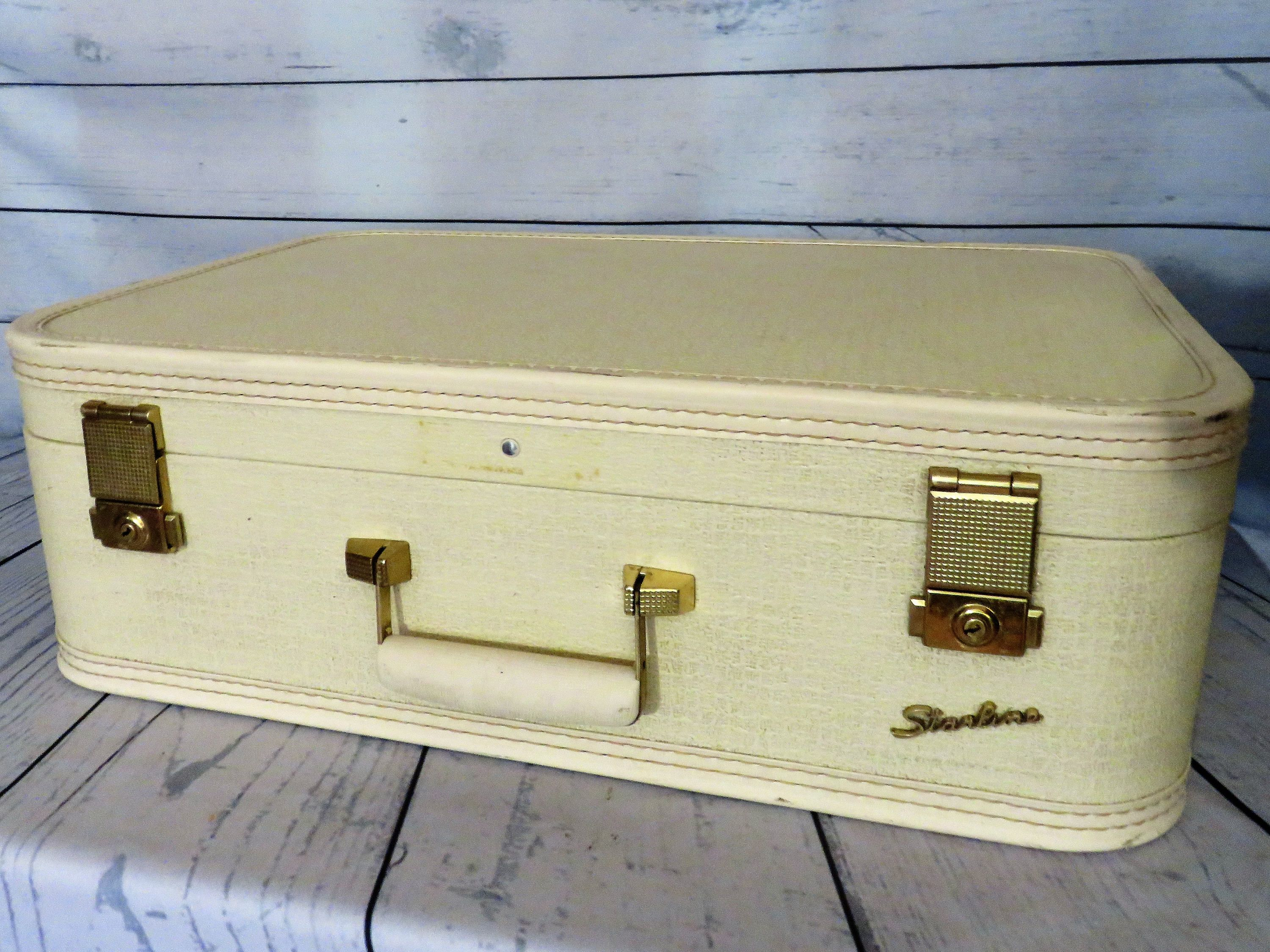 Starline White Suitcase 1950s Vintage Luggage Mid Sized Hard Side Travel Bag Overnight Carry Case By