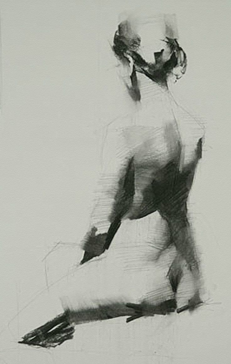 woman charcoal drawing Nude