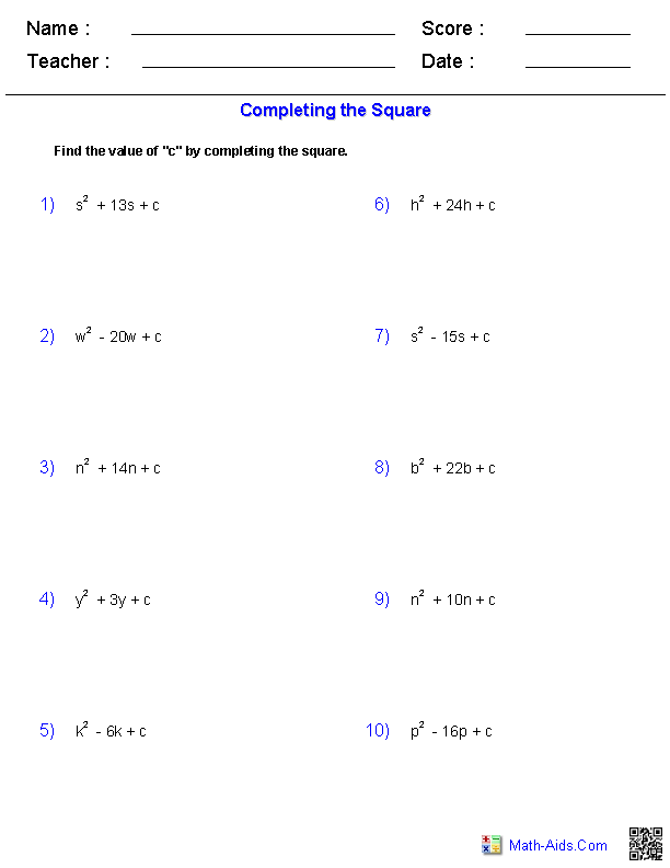 Completing the Square Quadratic Worksheets | Math-Aids.Com ...