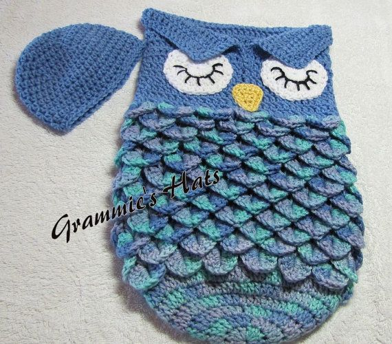 Blue owl baby cocoon and beanie with crocodile stitch sack. This ...