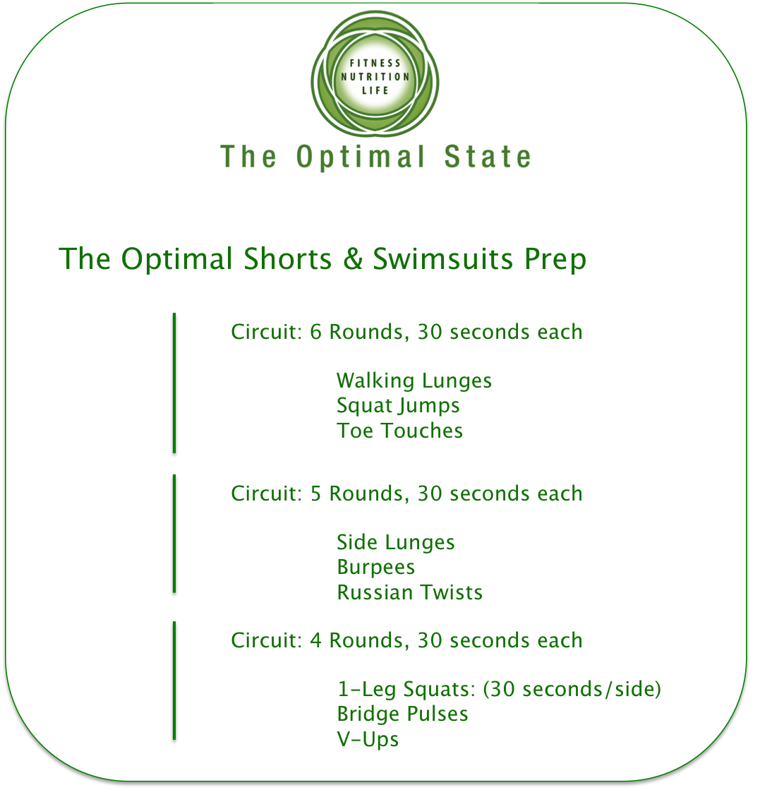 Shorts and Swimsuits season is right around the corner so get to work on those legs and abs!