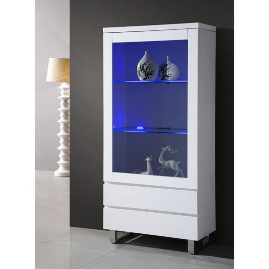 Zedan Glass Display Cabinet In White Gloss With Led Light New Life New Home Pinterest