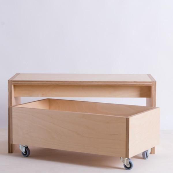 Plywood Storage Box On Wheels Plywood Storage Diy Storage Bench Wooden Storage