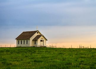 Little Country Church At Sunset