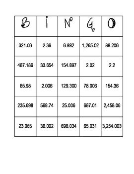 place value bingo thousands to the thousandths because i have to teach something to the 23. Black Bedroom Furniture Sets. Home Design Ideas