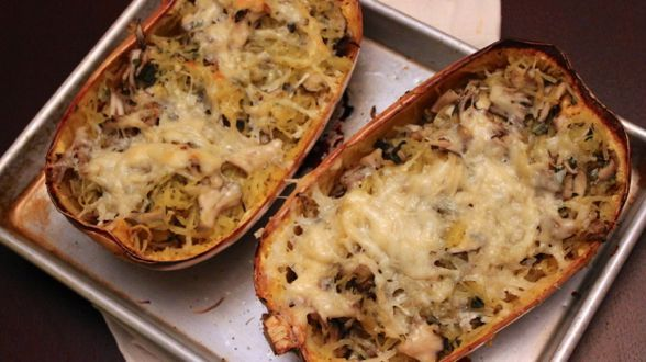 """You'd never guess by looking at its smooth exterior that when you roast the aptly named spaghetti squash and run a fork along the insides, the flesh will fall away in thin strands. In Spain it's called cabello de angel , """"angels' hair,"""" and it's usually served candied as a sweet. This stuffed squash is …"""