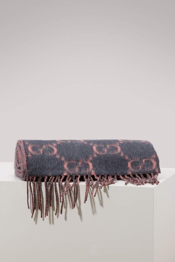 fa6c11306c Gucci GG alpaca and wool scarf | Products | Wool scarf, Gucci ...
