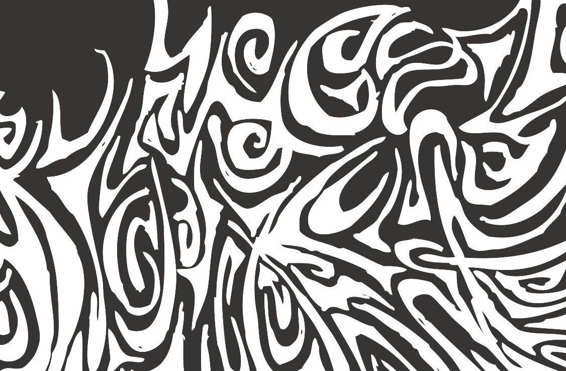 Wall art decor black and white swirl graffiti by lobackdesign