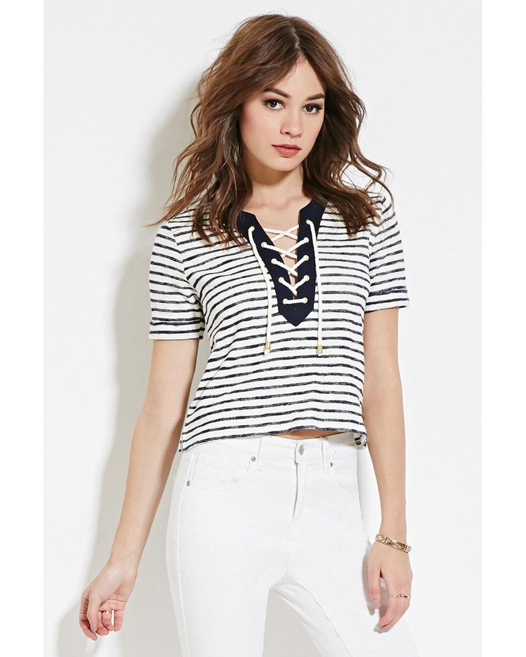 22037512796 Women s White Striped Lace-up Top