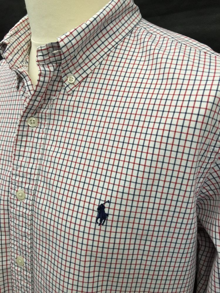 12bfb505 Polo #RalphLauren #Mens #Shirt XL Custom Fit Red White Blue #Checked ...