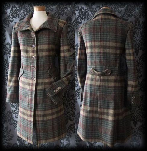 Goth Green Brown Check Solitude Wool Winter Coat 12 14 Vintage 40's WW2 Vintage
