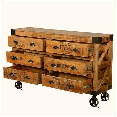 Rustic Industrial Solid Wood Rolling Vanity 6 Drawer Dresser Chest