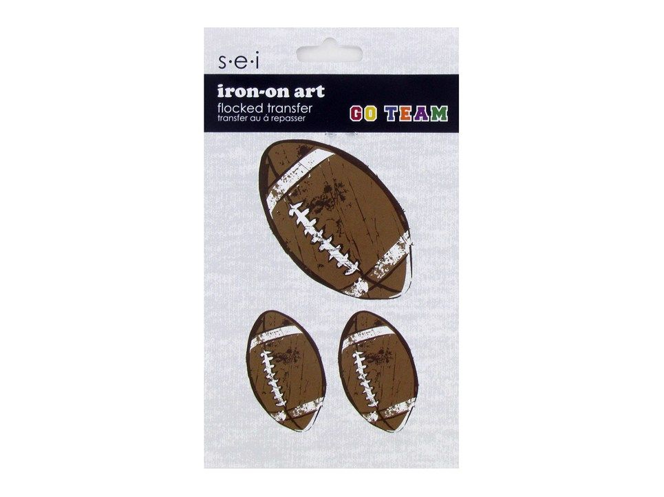 Football Iron-On Art Flocked Transfers $1.99