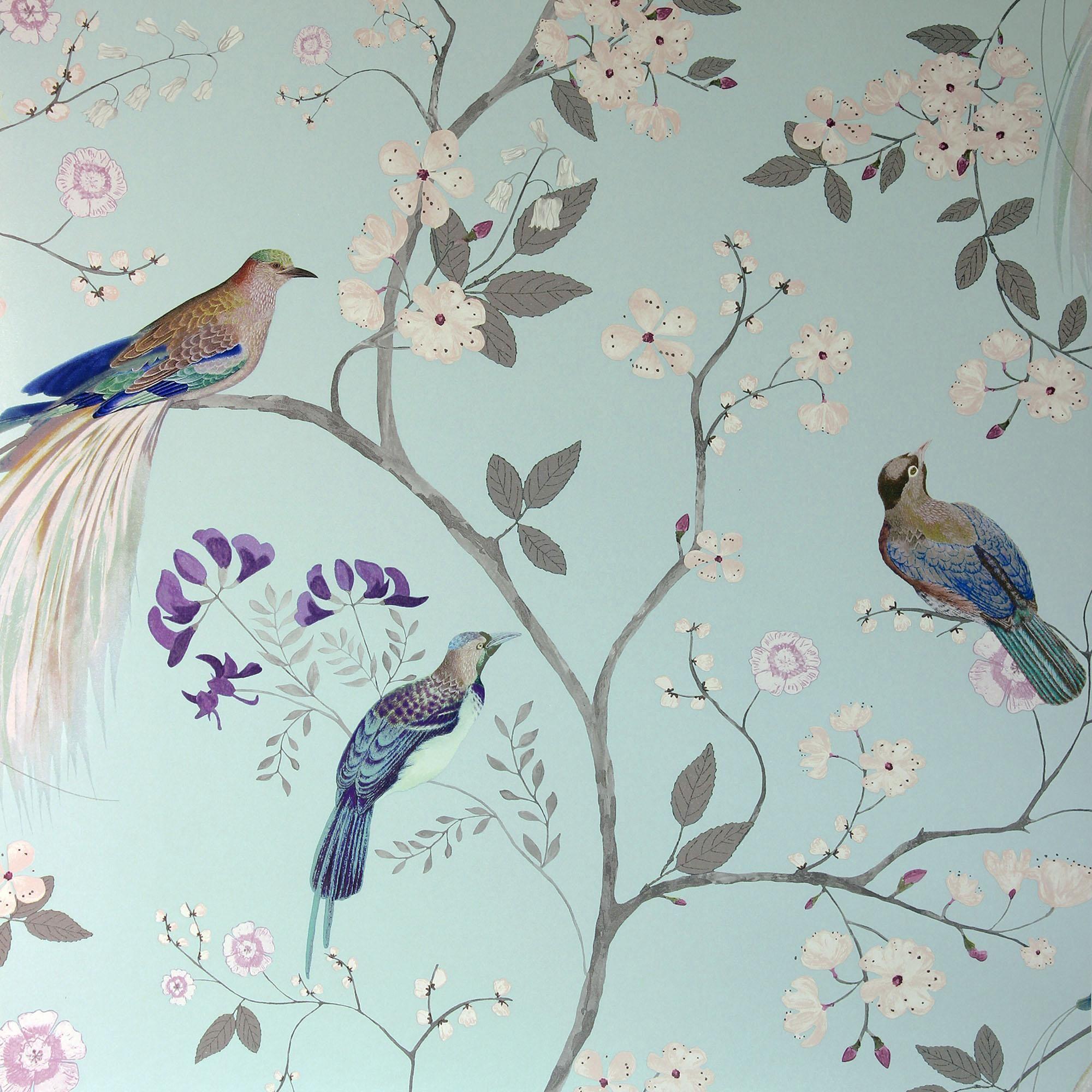 Dorma Maiya Duck Egg Wallpaper Duck Egg Blue Wallpaper Bird Wallpaper Bedroom Blue Floral Wallpaper Duck egg blue kitchen wallpaper