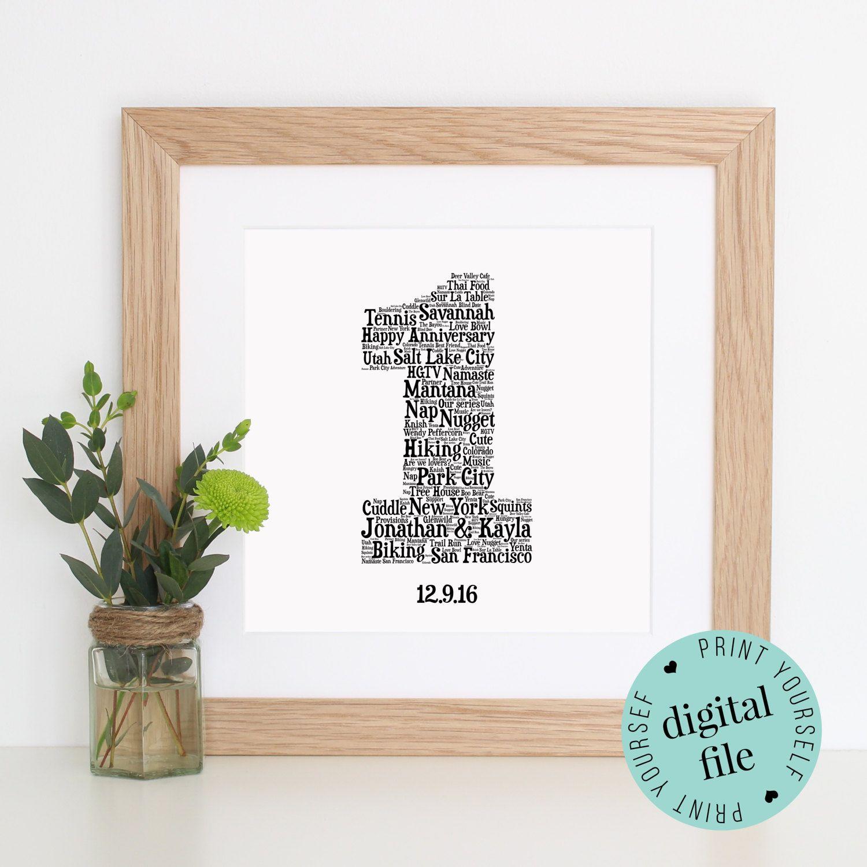 Personalised 1st ANNIVERSARY GIFT Word Art Printable