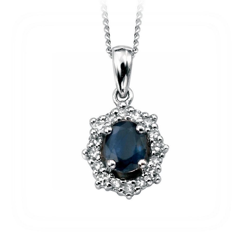 Oval cut sapphire and diamond pendant set in 18 k white gold all of oval cut sapphire and diamond pendant set in 18 k white gold all of our aloadofball Image collections