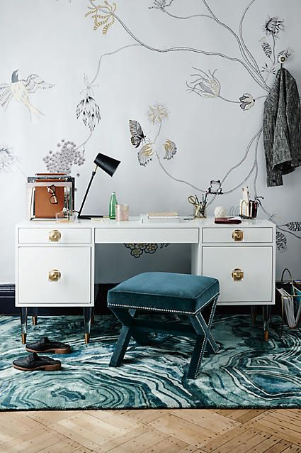 Prettiest vanity/desk setup. Vanity. Desk. Home Decor. Velvet criss cross stool. Velvet bench.
