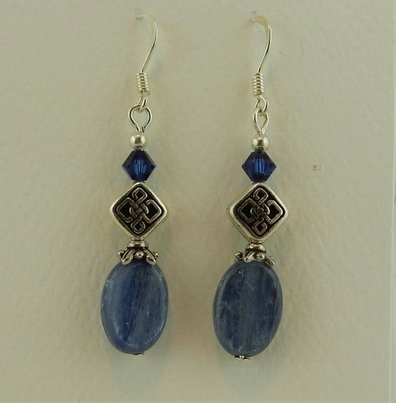 Celtic Knot earrings with Kyanite gemstones and by celtictreasures