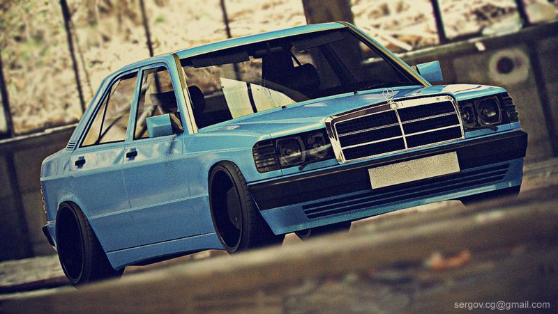 Blue Mercedes 190E on Borbets by sergoc58 | Machines and