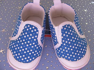 New-Adorable-Baby-6-12-Mos-Blue-amp-White-Stars-America-Patriotic-Shoes-So-Cute