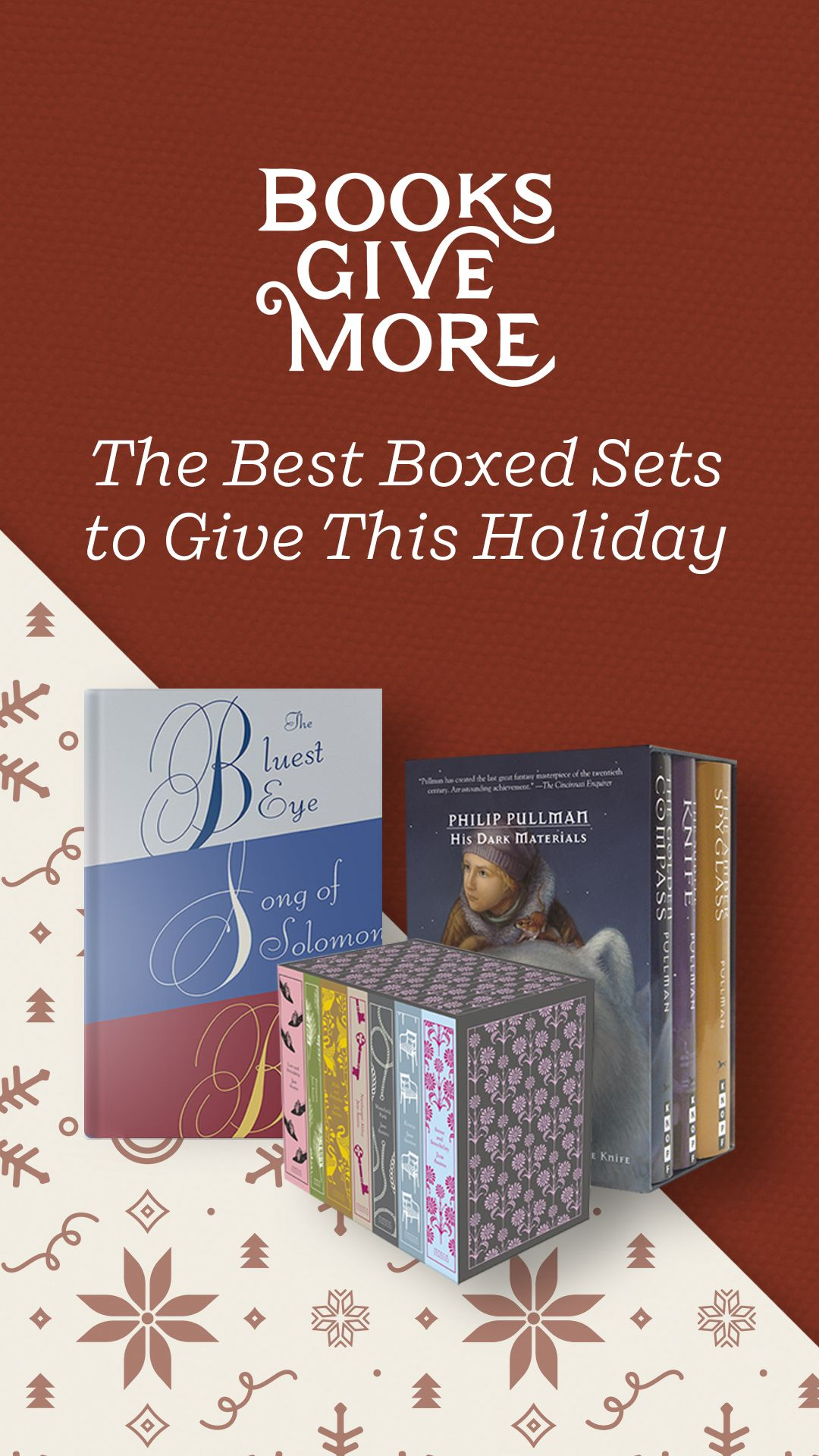 Save this list of the best book boxed sets to give this holiday. From collections of novels by beloved authors including Toni Morrison, Jane Austen, J.R.R. Tolkein, and John Green, to exquisite sets of hardcover classics, to the complete Mastering the Art of French Cooking by Julia Child, find the perfect books for readers of every age and taste.